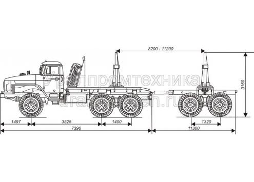 Лесовозный автопоезд: автомобиль-тягач Урал (596009) с прицепом-роспуском 9047L