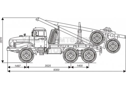 Лесовозный автопоезд: автомобиль-тягач Урал с прицепом-роспуском 9047L (Код модели: 4503)