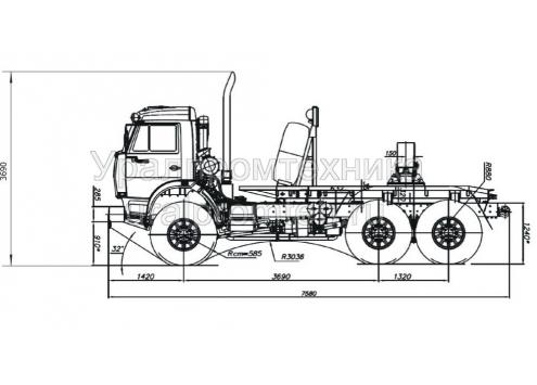 Трубоплетевозный автопоезд: автомобиль-тягач КамАЗ-43118 (596015) с прицепом-роспуском 9047T