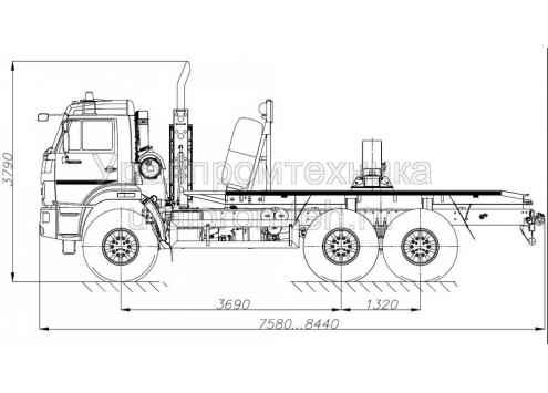 Трубоплетевозный автопоезд: автомобиль-тягач КамАЗ-43118 с прицепом-роспуском 9047T (Код модели: 4204)