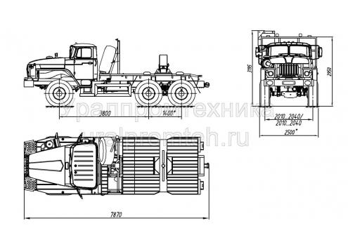Тягач трубоплетевозный Урал 55571 (59602A) (Код модели: 4101)
