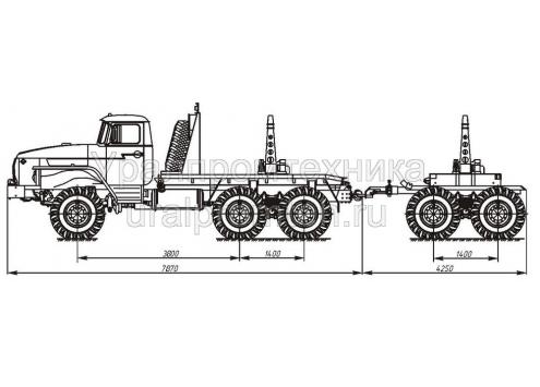 Трубовозный автопоезд с самопогрузкой труб: автомобиль-тягач Урал-55571 (59602A) с прицепом-роспуском 9047T  (Код модели: 4202)
