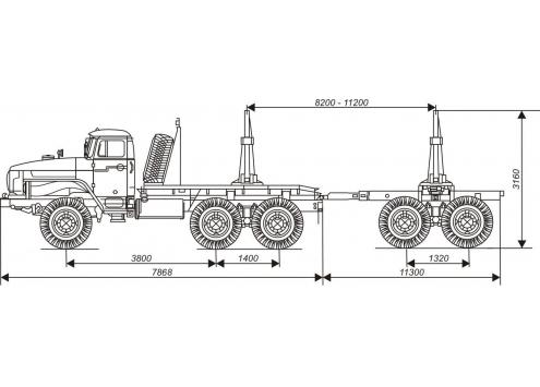 Лесовозный автопоезд: лесовозный тягач Урал с прицепом-роспуском 9047L (Код модели: 4501)