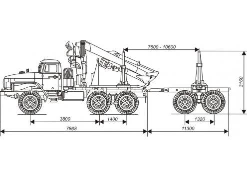 Лесовозный автопоезд с манипулятором: автомобиль-тягач Урал с прицепом-роспуском 9047L (Код модели: 4502)