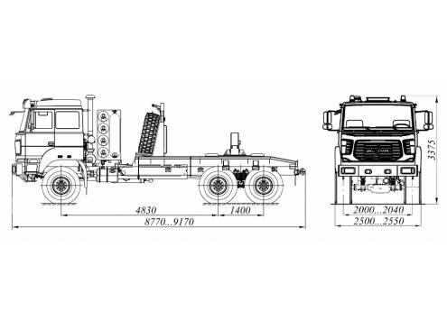 Тягач трубоплетевозный Урал-4320 газомоторный (59605B) (Код модели: 4110)