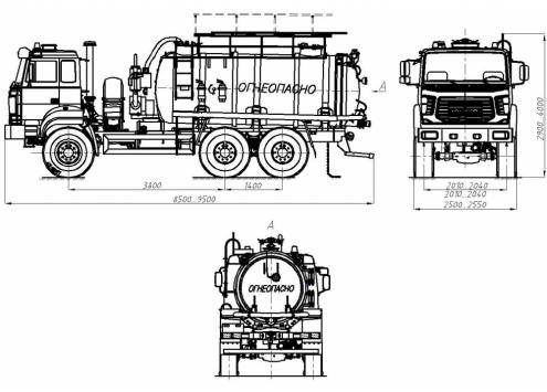 Автомобиль для сбора нефтеконденсата АКН-10 (шасси Урал-5557 бескапотное) (Код модели: 2202)