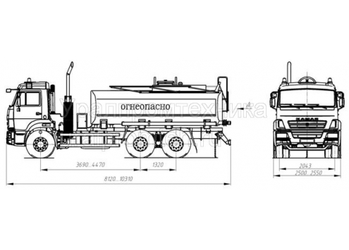 Автотопливозаправщик АТЗ-15 66021B (шасси КамАЗ 65115) (Код модели: 2106)