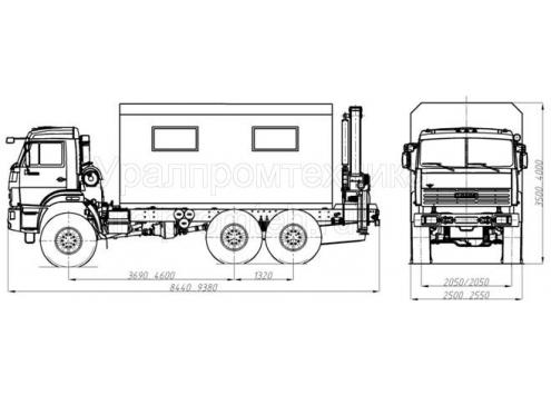 Передвижная авторемонтная мастерская ПАРМ с КМУ - КамАЗ-43118 (69011A) (Код модели: 3107)