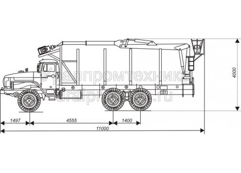 Тягач-сортиментовоз на шасси Урал 4320 с КМУ на заднем свесе (690213)