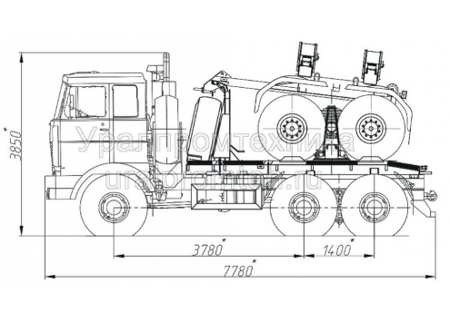 Трубоплетевозный автопоезд: автомобиль-тягач МАЗ-641705 с прицепом-роспуском 904704