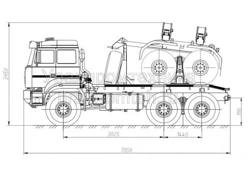 Трубоплетевозный автопоезд: автомобиль-тягач Урал-6370 с прицепом-роспуском 904706 (Код модели: 4203)
