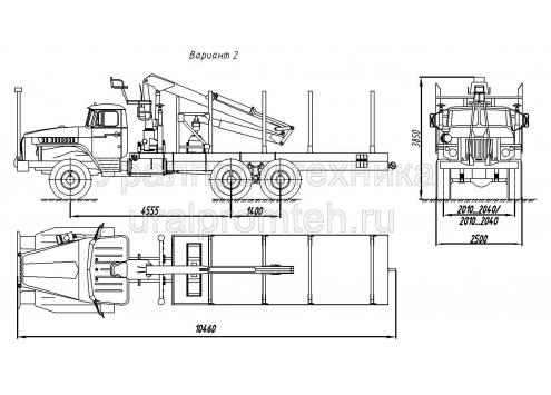 Сортиментовоз с гидроманипулятором за кабиной на шасси Урал 4320 (69022N) (Код модели: 4703)