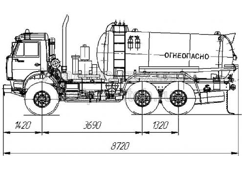 Агрегат для сбора газового конденсата и нефтепродуктов АКН-10 (шасси КамАЗ 43118-46) (Код модели: 2204)