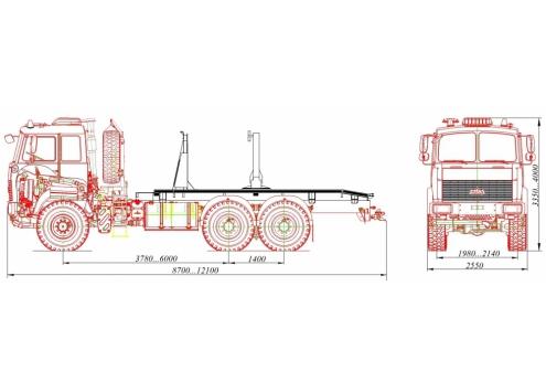 Тягач трубовозный МАЗ-6317Х5 с самопогрузкой труб (69023А)