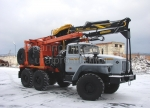 Лесовоз Урал 55571 с манипулятором с прицепом роспуском