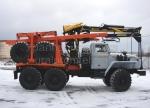 Лесовоз Урал с гидроманипулятором, с прицепом-роспуском