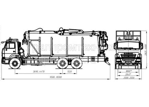 Сортиментовоз с гидроманипулятором на шасси КамАЗ 65115 (59601F) (Код модели: 4804)