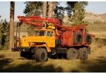 Лесовозный автопоезд Урал-4320 с манипулятором